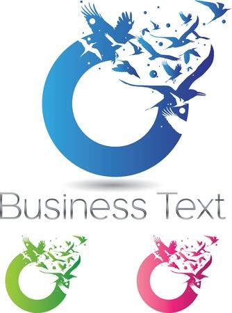 Conceptuele corporate identity design elementen met vliegende vogels uit een cirkel Stock Illustratie