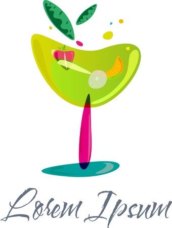 logos restaurantes: Logotipo de la plantilla abstracta con una copa estilizada de coloridos coktail de frutas