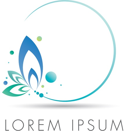 blue circles: Abstract elegant emblem design with floral circle Stock Photo