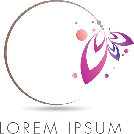 Abstract elegant emblem design with floral circle Stock Photo