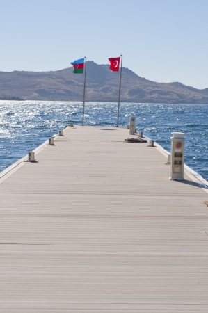 Flags of Azerbaijan and Turkey  photo