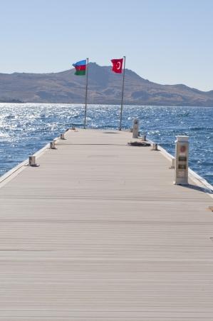 turkey beach: Flags of Azerbaijan and Turkey  Stock Photo