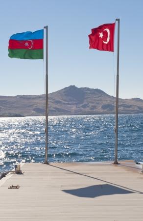 azerbaijan: Flags of Azerbaijan and Turkey  Stock Photo