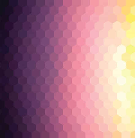 pixelate: hexagon pattern background with purple and yellow sunset colors