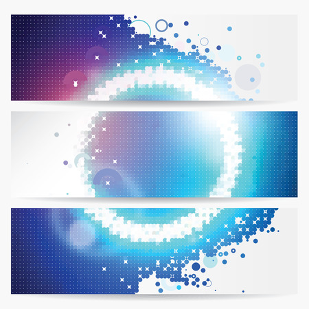 Three banners with beautifully illustrated light circle in circular grids Vector
