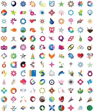 merken: Honderd dertig trendy, kleurrijke en unieke design elementen, emblemen en iconen