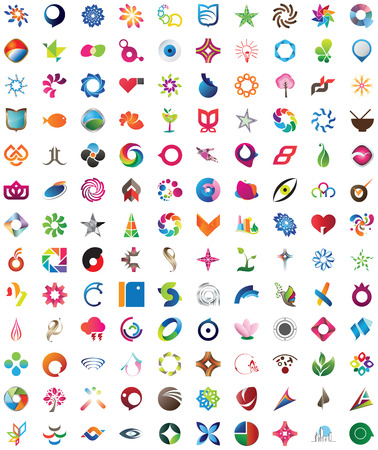 logos design: One hundred thirty pieces of trendy, colorful and unique design elements, emblems and icons