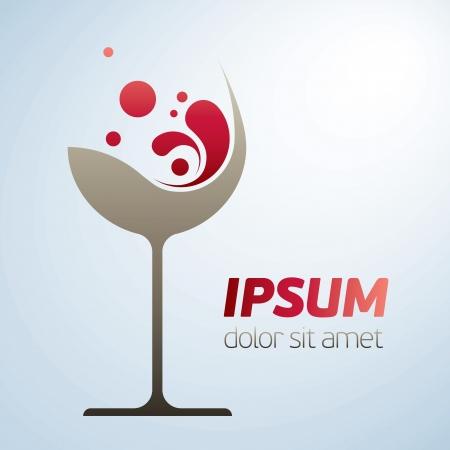 와인: stlylized 과장된 몸짓과 추상적 인 벡터 와인 유리 상징 일러스트
