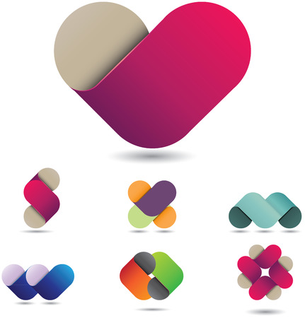 purple hearts: Colorful vector design element that can be used in many different forms as icon, emblem or infographics
