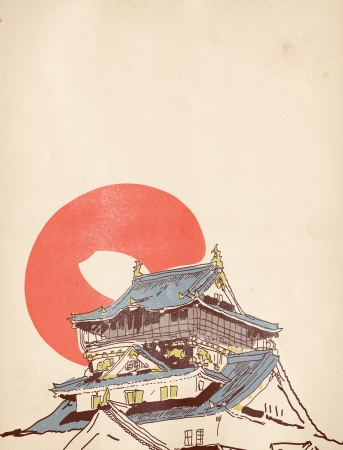 buddhist temple roof: Vector drawing sketch of traditional Japanese house on old paper background