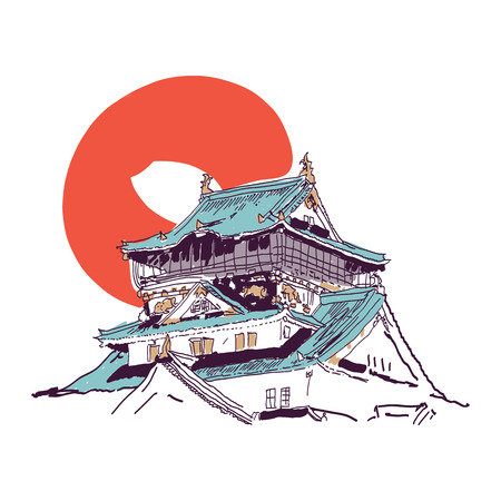 buddhist temple roof: Vector drawing sketch of traditional Japanese house