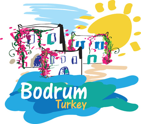Colorful illustration of Bodrum, a very popular summer destination in Turkey Stock Vector - 23124396