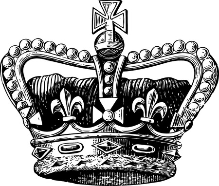 Vintage engraving of a royal crown with diamonds and cross sign and fleur de lis
