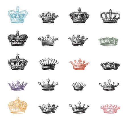 Twenty different variations of royal crown engravings, old time illustration collection Vector