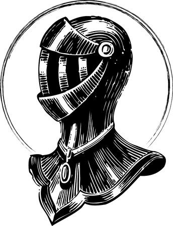 Vector engraving art of a medieval metal armor  Vector