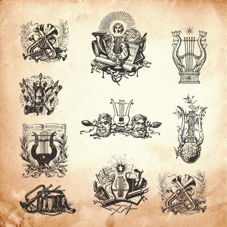 Old obra Grabado tiempo conjunto de símbolos e instrumentos musicales