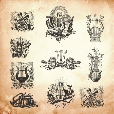 Old time engraving artwork set of musical symbols and instruments Vector