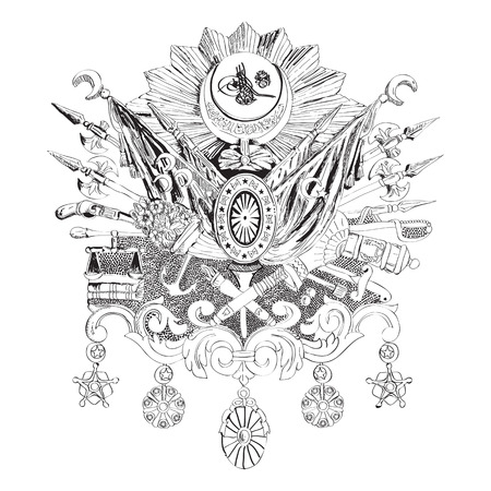 Hand drawn illustration of the Ottoman Empire coat of arms Illustration