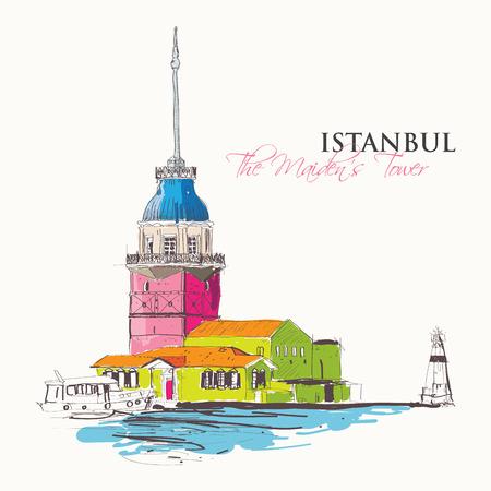 여행: 메이든 타워 또는 Kizkulesi, 보스포러스, 이스탄불, 터키에있는 바위 섬에 건설 된 고대 구조의 벡터 일러스트 레이 션 일러스트