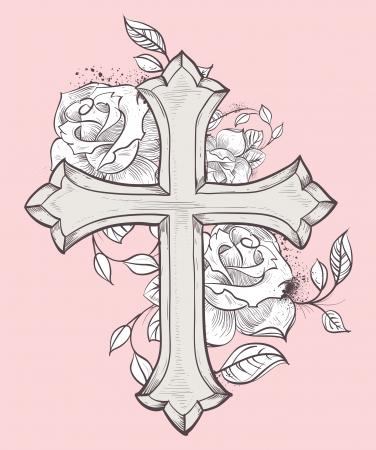 손으로 그린 십자가와 장미와 아름 다운 벡터 일러스트 레이 션 일러스트