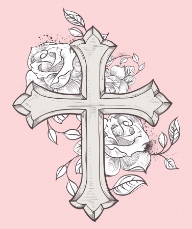 Beautiful vector illustration with hand drawn cross and roses Vector