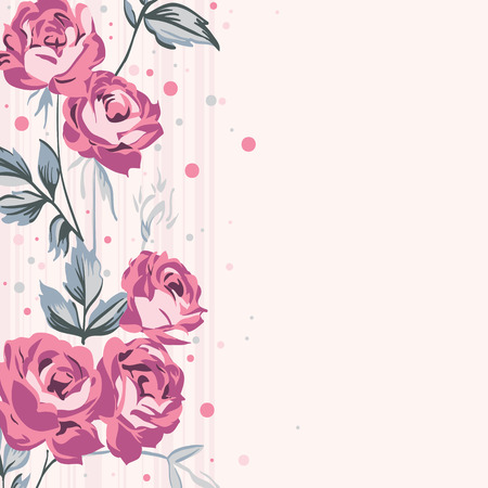 Vintage style shabby roses vector background