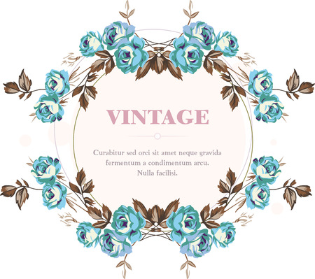 borders abstract: Vintage style shabby roses vector frame Illustration
