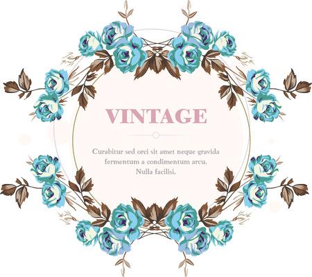 Vintage style shabby roses vector frame Illustration