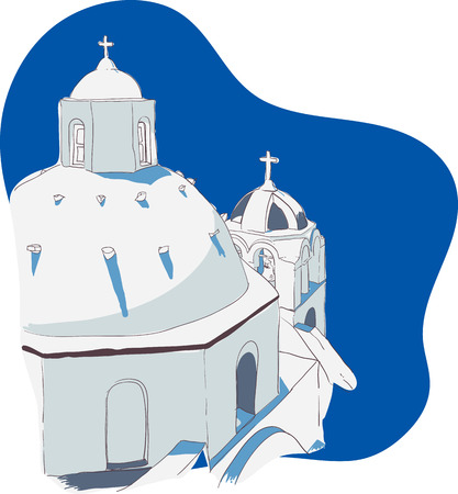 Vector illustration of the traditional archtecture in the Greek Islands