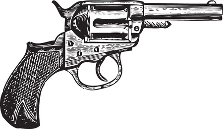 trigger: Vintage emgraving of a gun isolated on white Illustration