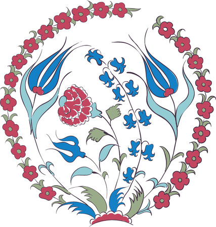 Elegant vector motif of beautiful Iznik style tulips, traditional Turkish-Ottoman art Illustration