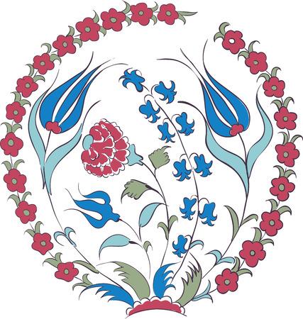Elegante vector motief van prachtige Iznik stijl tulpen, traditionele Turkse-Osmaanse kunst Vector Illustratie