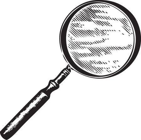 Gravure van een vergrootglas geïsoleerd op wit Stock Illustratie