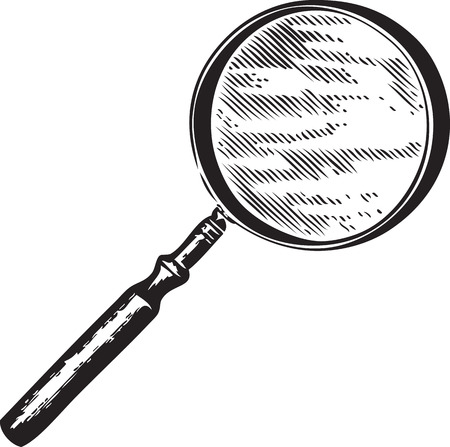 Vintage engraving of a magnifying glass isolated on white Vector