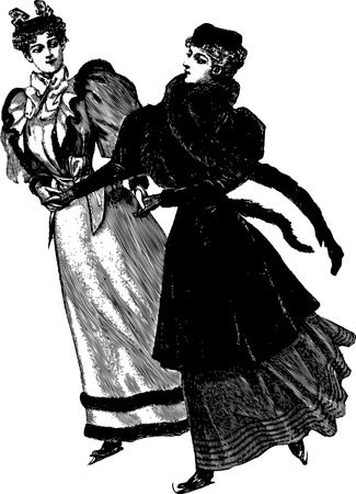 Vintage engraving of two women dancing, isolated on white Vector