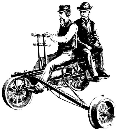Vintage engraving of two old friends riding a bike Stock Vector - 23394029