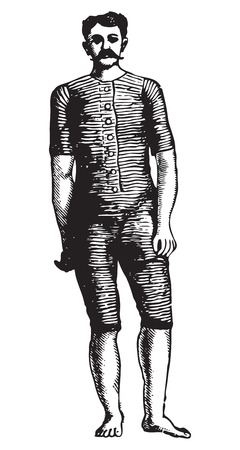 wrestler: Ancient engraving of a wrestler with a mustache