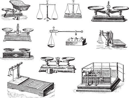 Collection of weighing tools and weighingmachines engravings Vector