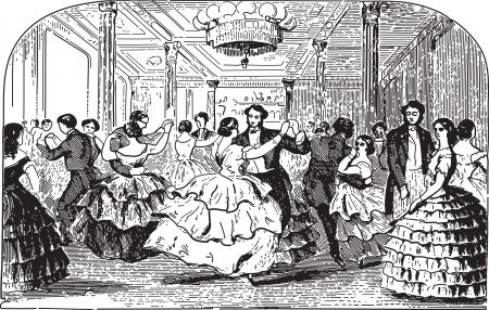 Ancient engraving of people dancing at a ball in a palace hall
