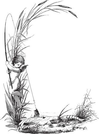 utsirad: Forntida gravyr av ett barn ängel fiske vid sjön, vektor ram Illustration