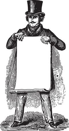 antik: Alte Stich von einem Mann zeigt eine leere Blatt Papier nostalgische Werbeanzeige Illustration
