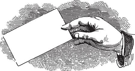 carte de visite vierge: Gravure ancienne de la main d'un homme tenant une carte de visite vierge