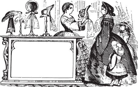 Ancient engraving of a lady with kids buying hats at a boutique Vector