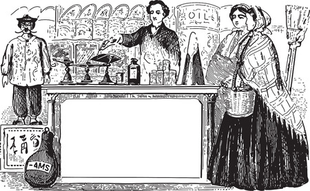 antiquity: Ancient engraving of two women shopping and a seller at a spice shop Illustration