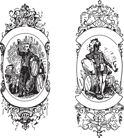 engravings: Two ancient engravings of ornate frames with human drawings Illustration