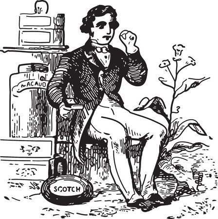 Ancient engraving of a man at tobacco shop Vector