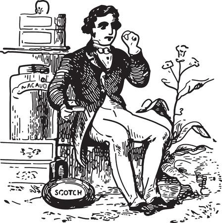 vintage cigar: Ancient engraving of a man at tobacco shop