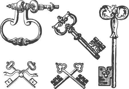 Collection of ancient key engravings Vector