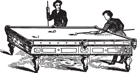 pool game: Ancient engraving of two men playing pool game