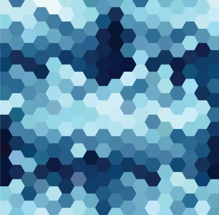 pixelation: Vector background with blue and white hexagonal pattern Illustration